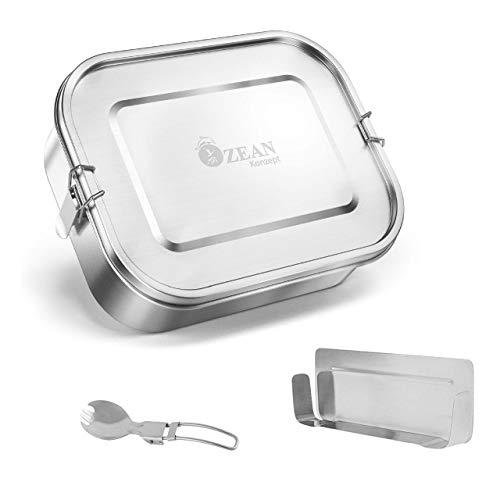 OzeanKonzept® - NEU - Hochwertige und nachhaltige Edelstahl Brotdose mit flexiblen Fächern | Auslaufsichere und dichte Lunchbox mit Göffel und Baumwolltasche - geeignet auch für Kinder (800ml)