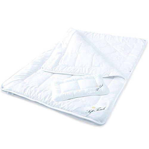 aqua-textil Soft Touch Kinder Bettdecke 100 x 135 cm Set mit Kissen 40 x 60 cm 4 Jahreszeitendecke Mikrofaser Steppdecke