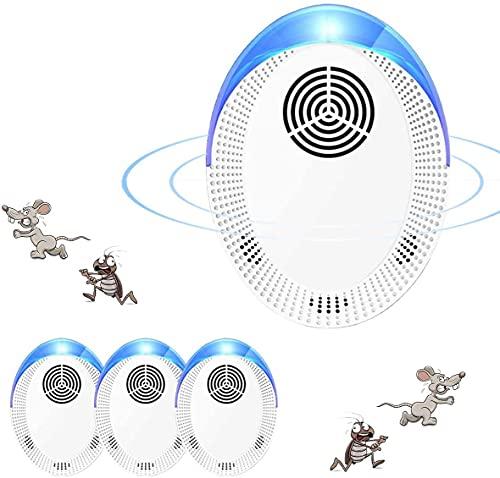 Mückenschutz Ultraschall Schädlingsbekämpfer Schädlingsbekämpfung Elektrisch Insektenschutzmittel für Kakerlaken, Mäuse, Kakerlaken, Fliegen, Mücken, Spinnen,Harmlos für Haustiere[4 Stück]