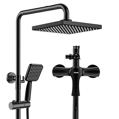 Coolshopy Termostático Grifo de cobre fino de la mano del aerosol Booster boquilla se puede subir y bajar Conjunto de ducha Negro 22 * 134cm Hermosa práctica baño