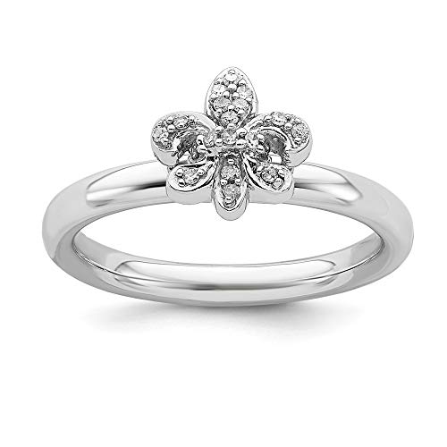 Plata esterlina apilable expresiones De flor De Lis del anillo De diamantes en bruto - tamaño T 1/2 - JewelryWeb