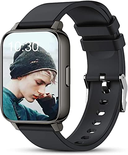Kalakate Smart Watch for Men Women, IP68 Waterproof Smartwatch for Android iOS Phones Compatible iPhone Samsung, Fitness Tracker with Heart Rate Monitor Sleep Steps Call Reminder (Black)