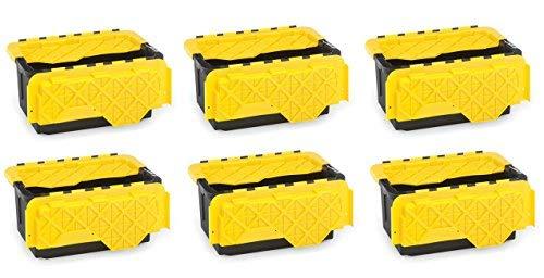 Homz 15 Gallon Tough Flip Lid Plastic Storage Container