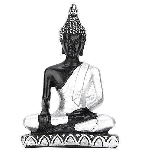 Estatua de Buda Religión Estatuilla Decoración Sudeste de Asia Resina Estatua de Buda Estatua de Escritorio en miniatura Ornamento Decoración para el hogar regalos(Plata)