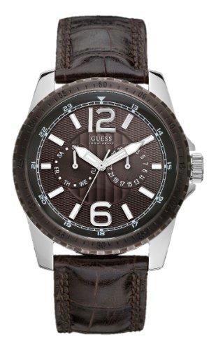 Guess Navigate W11596G1 - Reloj de Caballero de Cuarzo, Correa de Piel Color marrón
