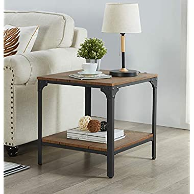 """Homissue 21.7""""Height Industrial Square Sofa Side Table, Metal Frame Accent End Table with Storage Shelf for Living Room & Office, Vintage Brown Finish"""
