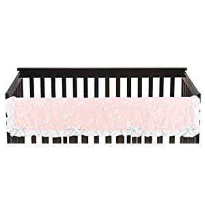 Sweet Jojo Designs Pink Floral Vintage Lace Girl Long Front Crib Rail Guard Baby Teething Cover Protector Wrap – Solid Blush Crinkle Crushed Velvet Luxurious Princess Boho Shabby Chic Luxury Flower