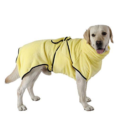 PETTOM Bademantel Hund Schnelltrocknend Korallenvlies Hundebademantel für Mittelgroße Hunde Saugfähig Verstellbar Bademantel für Kleine und Große Hunde (L, Gelb)