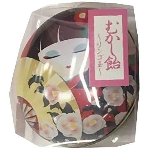 日本製 made in japan わらべMaiko 昔飴 楕円缶(椿) りんご玉【まとめ買い24個セット】