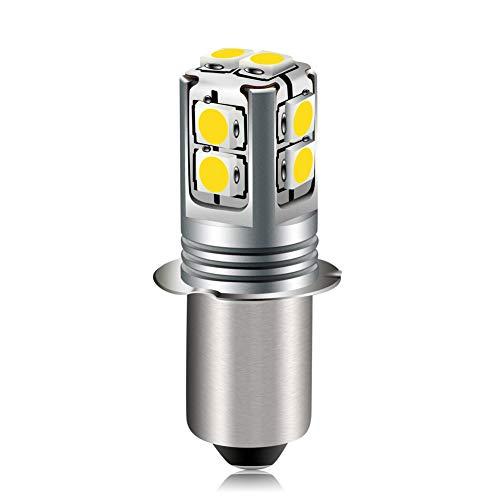 Ruiandsion Bombilla LED de base P13.5S de 6 a 40 voltios actualización de luz LED de 4300K blanco cálido 6V 9V 12V 18V 19,2V 24V repuesto para linterna linterna de trabajo, no polaridad