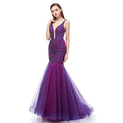 Leyidress Meerjungfrau-Abendkleid, Trompete, Ballkleid, bestickt, V-Ausschnitt, Kleid für Frauen, Party, Abschlussball - Violett - 34