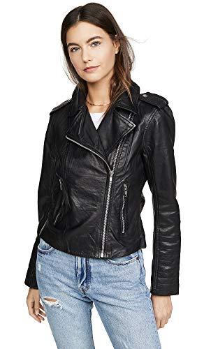 BB Dakota by Steve Madden Damen Hello Moto Washed Leather Jacket Lederjacke, schwarz, Large