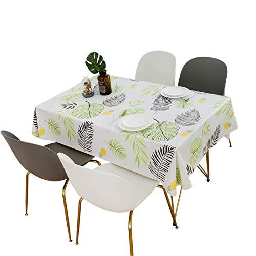 PUBMIND Mantel de vinilo de peso pesado, rectangular, cubierta de mesa, resistente al aceite, resistente a las manchas (140 x 180 cm, hojas coloridas)