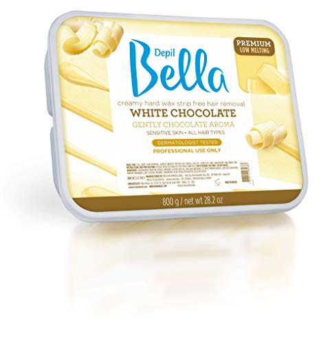 Depil Bella White Chocolate Hair Removal Wax – 28.2oz High Performance Hard Wax for Sensitive Skin with Elastic and Creamy Texture – Full Body Wax for All Hair and Skin Types