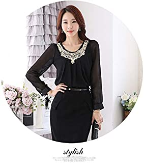 Stylish Womans Sleeve Chillfon Blouse Top - Black