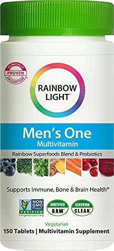 Rainbow Light Men's One Daily High Potency Multivitamin for Immune Support with Vitamin C, D & Zinc, 150 Tablets, Non-GMO, Vegetarian & Gluten Free, 5 Month Supply