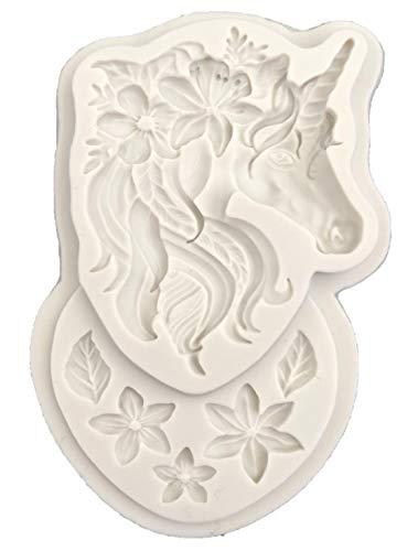 URNOFHW 3D del unicornio de molde del silicón de la pasta de azúcar primero de la magdalena de la decoración del molde DIY partido de la torta que adorna la herramienta del molde del caramelo de choco