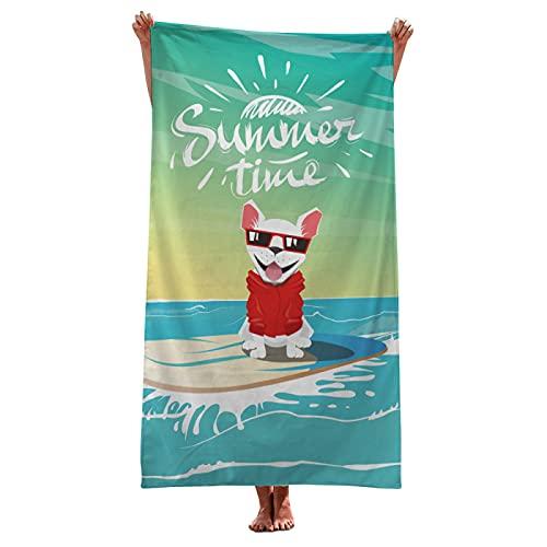LZYMLG Toallas de baño para cachorros Bulldog francés, 35 x 70 cm, acuarela, para perro, arte colorido, toalla de baño suave, absorbente, para gimnasio, deportes, spa, playa, decoración del hogar