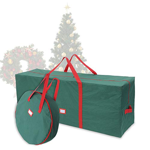 48' Christmas Tree Storage Bag Set with 30' Christmas Wreath Storage Bag– Fits up to 7.5 ft Disassembled Artificial Christmas Tree, Durable Waterproof Material with Carry Handles and Zippered Closure