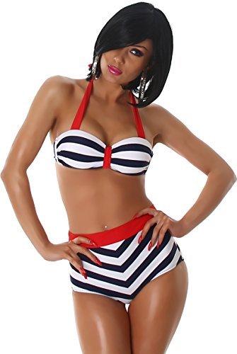 PF-Fashion Damen Push-Up Bikini Träger Uni Maritim Neckholder Vintage Retro Marine High-Waist Slip gestreift Navy 32/34