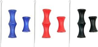 LIOOBO 3pcs Tiro con Arco Protector de Dedo Cuerda de Dedo pestaña de Silicona Protector de Dedo Protector de Dedo Accesorio de Disparo (Azul, Negro, Rojo)