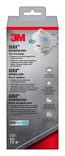 3M Aura Particulate Respirator 9205+ N95, 10/Pack, White