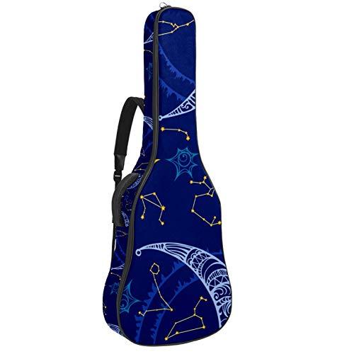 Bennigiry Sol, luna, y, zodíaco, composición, celestial, aries Estuche para guitarra Estuche para guitarra acústica Estuche para guitarras Estuche para guitarrista