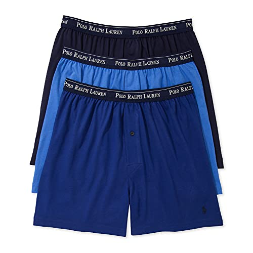 Polo Ralph Lauren Classic Fit w/Wicking 3-Pack Knit Boxers Aerial Blue/Rugby Royal/Cruise Navy MD