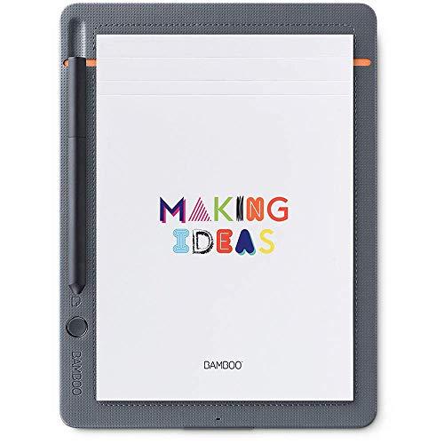 Wacom Bamboo Slate Smartpad A5 Kleines Notepad (mit Digitalisierungs-Funktion inkl. Eingabestift mit Kugelschreibermine, geeignet für Android & Apple) K100876, mittelgrau