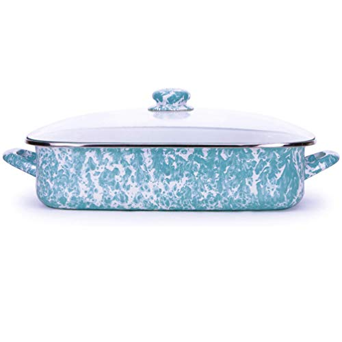 Golden Rabbit Enamelware -Sea Glass Teal Swirl Pattern -16 x 12.5 x 4 Inch Roasting Pan Set