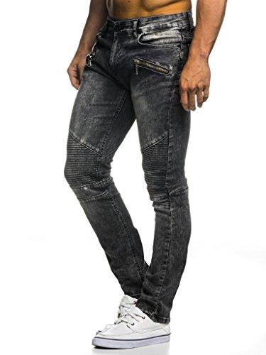 Leif Nelson Herren Jeans Hose Slim Fit Denim Blaue graue Lange Jeanshose für Männer Coole Jungen weiße Stretch Freizeithose Schwarze Cargo Chino Sommer Winter Basic LN273 Anthrazit W31/L32