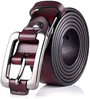 MYCHOMEU Vintage Ladies Leather Belt Youth Casual Women's Day Buckle Belt Waist Thin (Color : Red Brown, Size : 110cm)