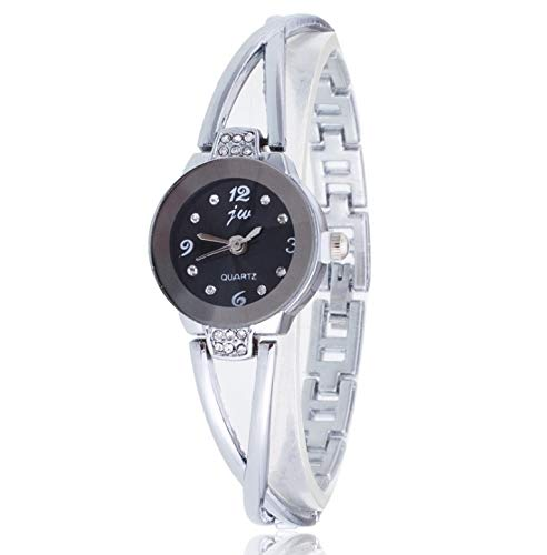 Waterdicht mode Dfch 2 PCS Steel Belt Diamond Mirror digitale weegschaal quartz horloge Bracelet Watch for Women (rose goud) (Color : White shell black surface)