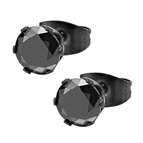 3-8MM Negro Circonita, Negro Pendientes de Hombre de Mujer, Aretes, Acero Inoxidable, 1 Par(Tamaño de La Piedra: 7mm)