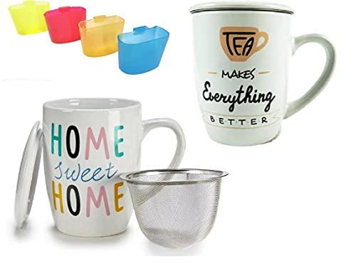 2 Tazas para te de ceramica con tapa y filtro de acero inoxidable + 2 posa bolsita de te - tazon porcelana con filtro tea 11cm - Taza infusion