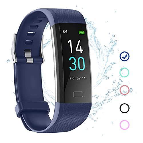 Fitness Tracker Armband Wasserdicht IP68 Blau mit Pulsmesser Schlafmonitor Fitness Tracker Schrittzähler Aktivitätstracker Uhr für Damen Herren Kinder Smartband für IOS Android