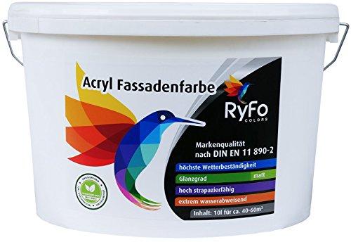 RyFo Colors Acryl Fassadenfarbe 10l (Größe wählbar) - weiße Außen-Farbe-Dispersion, Reinacrylat Basis, wasserabweisend, hohe Deckkraft, höchster Wetterschutz, lösemittelfrei