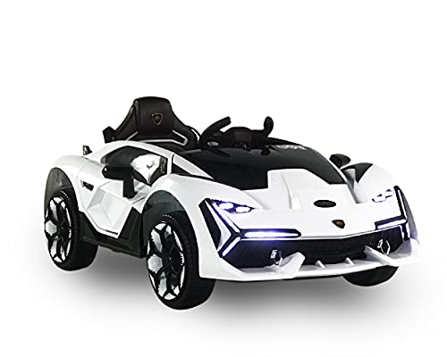 First Drive Lambo Concept White 12v Kids Cars - Dual Motor Electric Power Ride On Car with Remote, MP3, Aux Cord, Led Headlights, and Premium Wheel