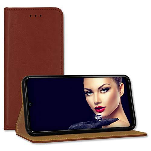 mtb more energy® Leder-Tasche Bookstyle für Samsung Galaxy A21S (SM-A217, 6.5'') - braun - Echtleder - Schutz Hülle Wallet Cover Hülle
