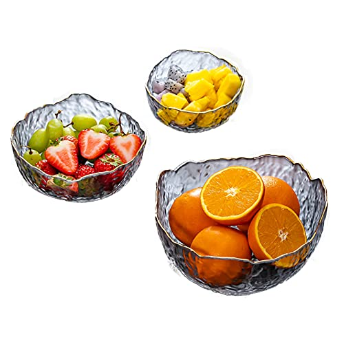 LXLTL Serving Bowls Set of 3, Creative Clear Stackable Salad Bowls Deep Trifle Bowl for Soup Fruit Dessert Pasta Curry Popcorn Cereal Suit for Mixing Dining Party Catering,A