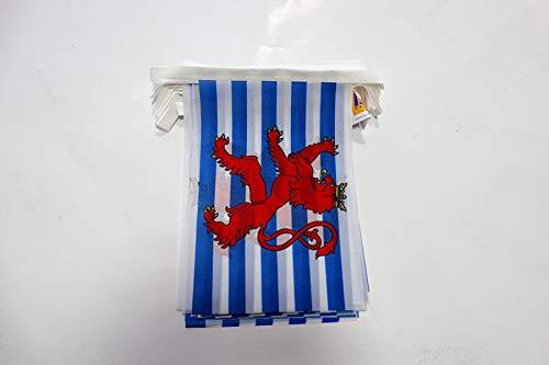 AZ FLAG Guirnalda 6 Metros 20 Banderas de Luxemburgo con LEÓN 21x15cm - Bandera LUXEMBURGUESA con Leon 15 x 21 cm - BANDERINES