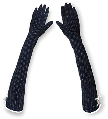 MiRii MeRii ミリーメリー UVカット 手袋 ロング メッシュ 清涼 選べる4色 水玉 柄 滑止め付 ブラック t05