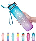 Giotto 32oz Large Leakproof BPA Free Drinking Water Bottle with Time...