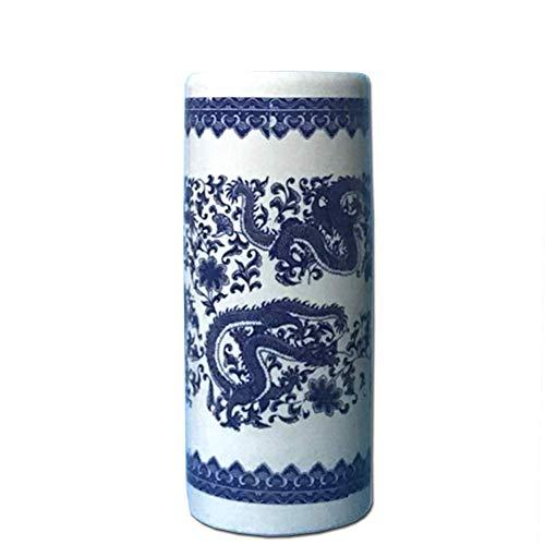QTQHOME Portaombrelli Portaombrelli,Ceramica Stile Cinese Rimovibile Tonda Salvaspazio Autoportante Robusto eacute;Cor Office Home-Pine 50x22cm (20x9in)