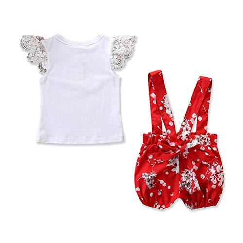 Transer Nouveau-né Enfants Bébé Fille Soeurs Outfit Ensembles Vêtements Floral Impression Barboteuse Ensemble (6-9 Mois, Rouge-Fille)