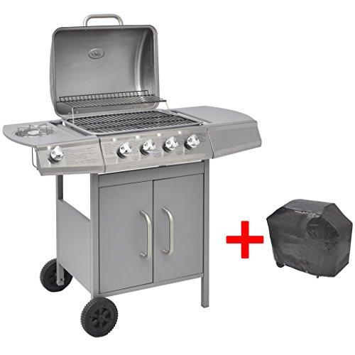Festnight BBQ Gasgrill Barbecue-Grill Grillwagen Gas-Grill 4 Brenner +1 Seitenbrenner Silberfarben