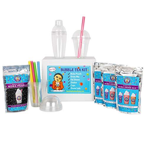 JUMBO Boba Bubble Tea Kit Makes 30+ Drinks DIY by Buddha Bubbles Boba MILK TEA, MOCHA & SPICED CHAI TEA