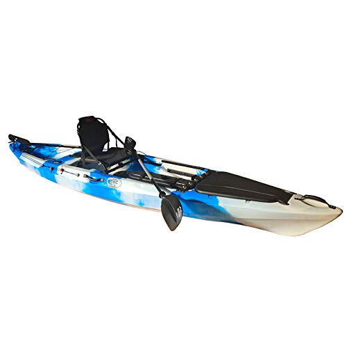 BKC FK13 13-Foot Solo Sit on Top Angler Fishing Kayak w/Upright Aluminum Seat, Paddle and Foot-Controlled Rudder -  Brooklyn Kayak Company, FK13_GreenCamo