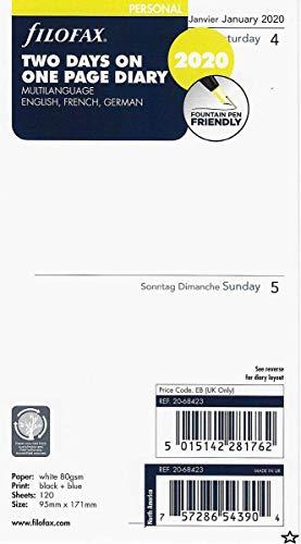 Filofax Personal Two Days per Page 3 Language 2020 Diary