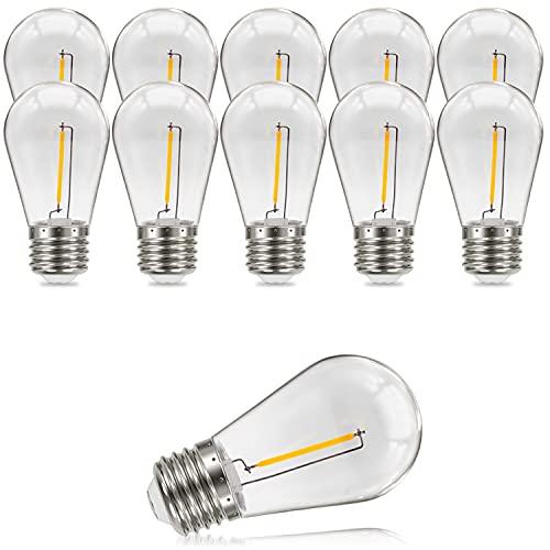 Suncan Lampadina LED Edison S14 E27, 1 W = 10 W, filamento vintage, trasparente, in policarbonato, luce bianca calda, angolo di diffusione di 360°, non dimmerabile, confezione da 10